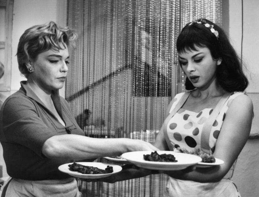 Simone Signoret and Sandra Milo